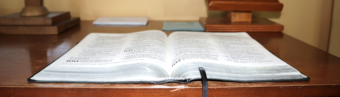 Open bible on a table